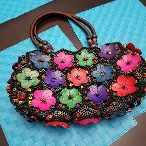 Handbags - Handbag with colorful wooden flowers